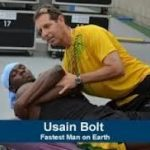 Usain Bolt with his chiropractor